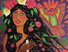"""Huichol Spirit  by artist Eden Folwell, Acrylic on canvas, 11""""x14"""", framed to 14""""x17"""" - SOLD"""