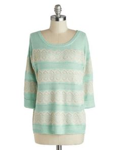 Snuggly Saturday Sweater -Mint and Beige Lace Sweater