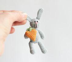 Easter Crochet Miniature Grey RABBIT  with CARROT by FancyKnittles, £13.00