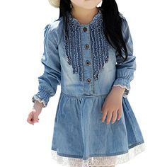 Sungpunet 27 Years Kids Girl Denim Short Dress Lace Ruffle Long Sleeve >>> Learn more by visiting the image link.
