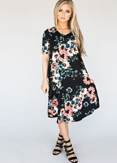 Midi Mint Classic Rose Dress, floral dress, fashion, style, womens fashion, blonde, hair, swing dress, nursing friendly dress