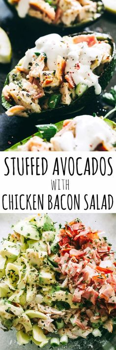 Stuffed Avocados with Chicken Bacon Salad – Quick and healthy stuffed avocados loaded with a delicious chicken, avocado, and bacon salad tossed in a refreshing lemon dressing. Low carb, gluten free, keto and paleo approved! #chickensalad #stuffedavocados