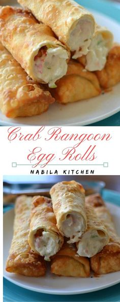 Delicious Crab Rangoon Egg Rolls blend collectively cream cheese, Worcestershire sauce, garlic powder, onion powder, green onions and crab meat. Lay one egg roll wrapper ou. Wonton Recipes, Egg Roll Recipes, Crab Recipes, Recipe For Egg Rolls, Recipes Using Egg Roll Wrappers, Eggroll Wrapper Recipes, Japanese Egg Rolls Recipe, Air Fryer Recipes Egg Rolls, Filipino Egg Rolls