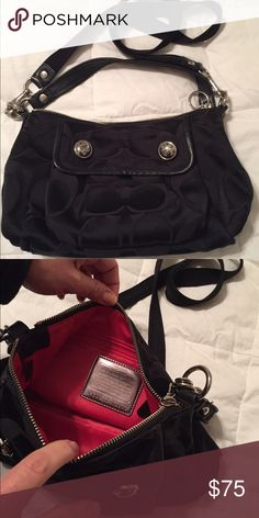 Coach Poppy Black Sateen Shoulder Bag. Coach Poppy Sateen Signature 2-Way Shoulder Bag with Scampi and Strap. Red inside. MINT CONDITION Coach Bags Shoulder Bags