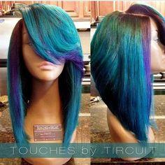 Bob cut. purple and blue hair. different. unique hair do. summer hair.