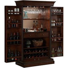 Keep you wine collection neatly organized and safely stored inside this convenient Ashley Heights home bar wine cabinet. Durable front floor glides adjust and level to the needs of your space, prevent