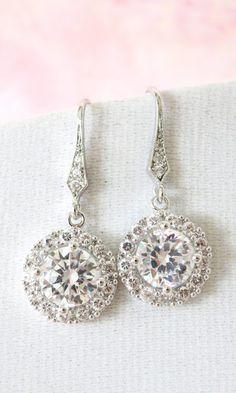 Heather Luxe Cubic Zirconia Round Drop Earrings