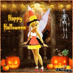tinkerbell halloween 3 Tinkerbell Gifts, Tinkerbell Quotes, Tinkerbell And Friends, Peter Pan And Tinkerbell, Tinkerbell Fairies, Disney Fairies, Tinkerbell Pictures, Happy Halloween Gif, Halloween Art