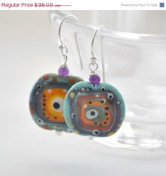 SALE Abstract Earrings Colorful Earrings Lampwork Glass by bstrung, $32.30