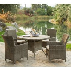 Belham Living Bella All Weather Wicker Round Patio Dining Set - Patio Dining Sets at Hayneedle