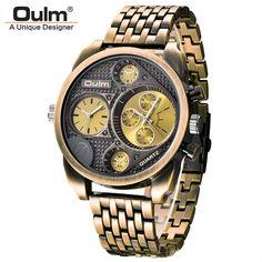 Luxury Brand Men Full Steel Quartz Watch Golden Big Size Men's Watches Antique Military