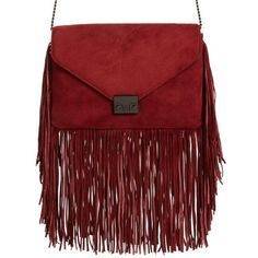 Women's Loeffler Randall 'Lock' Suede Fringe Clutch (5.182.400 IDR) ❤ liked on Polyvore featuring bags, handbags, clutches, port, fringe crossbody, fringe handbags, red crossbody purse, red suede handbag and red fringe purse