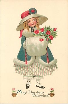Full Sized Image: girl in blue coat, white fur & muff, carrying red roses - TuckDB Éphémères Vintage, Images Vintage, Vintage Christmas Images, Vintage Ephemera, Vintage Postcards, Christmas Postcards, Valentines Greetings, Valentine Greeting Cards, My Funny Valentine