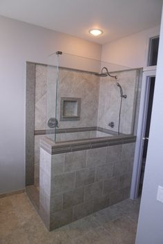 Custom walk in shower, Samsung Quartz Mariposa Buff, Delta fixtures, Tile from Arizona Tile.