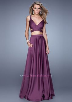 Sexy Open Back Eggplant Stunning Two Piece Satin Long Prom Dress