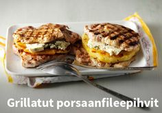 Grillatut porsaanfileepihvit Resepti: Valio  #kauppahalli24 #ruoka #resepti #porsaanfilee Grill N Chill, Salmon Burgers, French Toast, Sandwiches, Good Food, Breakfast, Ethnic Recipes, Roll Up Sandwiches, Morning Coffee