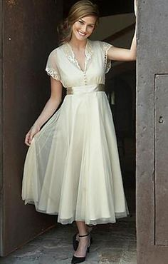 Traditional Vintage Tea Length Wedding Dress with Sleeves 20110836 - love the softness of this dress!