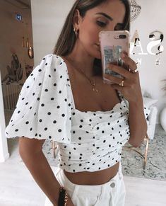 Sabo Skirt, Crepe Fabric, Black Spot, Off White, Personal Style, Denim Shorts, Crop Tops, My Style, Casual