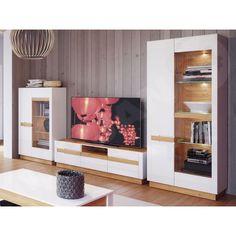 253.000 Visio II nappali szett Storage Spaces, Stemware Storage, Furniture, Tv Stands And Entertainment Centers, Cool Tv Stands, Dinnerware Storage, China Storage, White Kitchen Storage, Oak Color