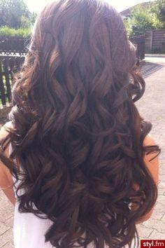 long brown curly hair