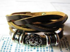 Brown Soft Leather With Metal Snapper Women Cuff by braceletcool, $9.50