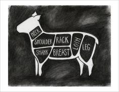 Items similar to Charcoal Lamb Butcher Diagram on Etsy Lamb Cuts, Pretty Things, Vintage Botanical Prints, Vintage Prints, Lamb Recipes, Primal Recipes, Animal Science, Kitchen Art, Kitchen Decor