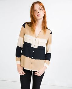 Image 2 of WIDE STRIPED BLOUSE from Zara