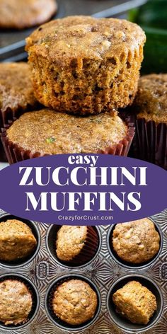 Zucchini Bread Muffins, Zucchini Desserts, Zucchini Muffin Recipes, Zucchini Bread Recipes, Healthy Muffins, Zucchini Cupcakes, Kid Muffins, Easy Breakfast Muffins, Breakfast Recipes