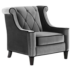 Like the style, not the color.  Armen Living Barrister Chair - Gray Velvet with Black Piping - $660 @hayneedle
