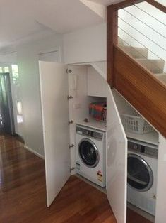 awesome laundry under staircase - Google Search...