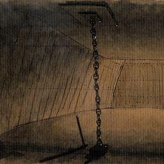 Concepcion - sketch, detail  Una visione metafisica di un relitto spiaggiato, poi riaffiorato dalle sabbie del deserto. Sezione sfrangiata di una enorme chiglia, conserva la scassa dell'albero (si ritrova sotto terra, all'interno della pancia della nave), che appare da lontano come un rosone di legno.