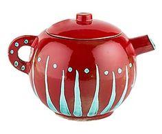 Teiera in ceramica forte Gloria rosso/azzurro - 20x22x20 cm