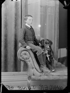 Photograph taken by the studio of William James Harding, Wanganui. Source of descriptive information - Negative register and inscriptions on negat. Vintage Dog, Vintage Images, Old Dogs, Dog Boarding, Antique Photos, Dog Portraits, Dog Photos, Doge, Mans Best Friend