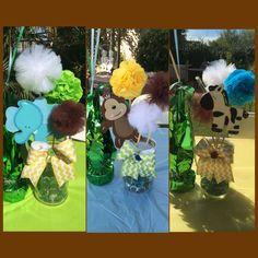 Safari centerpieces. Mason jars. Jungle theme. Baby shower.