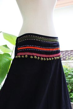 Black Cotton Skirt with Stitched Cotton by fantasyclothes on Etsy