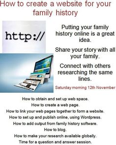Creating a Website for Family History - Society of Genealogists
