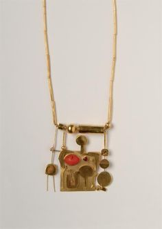 Hermann Jünger. Necklace. Gold, ruby, carnelian, 1969.