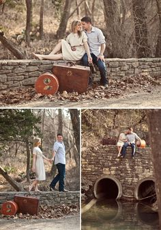 Creative engagement photos with a travel photography concept with vintage props