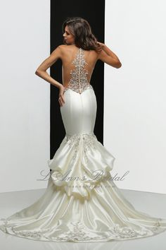 Simone Carvalli wedding dress 90302 - Stretch illusion neckline and yoke beaded embroidered bodice and illusion detail back, fit and flare skirt with draped detail train.