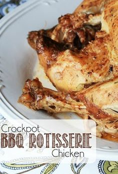 Crockpot BBQ Rotisserie Chicken - the BEST whole chicken recipe for the slow cooker with lemon, garlic, Italian seasoning, and BBQ sauce!