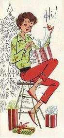 Vintage Teen Christmas Card