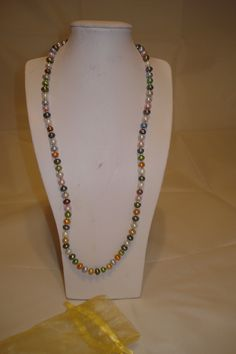 Button pearl necklace in soft  autumn colours £20.00