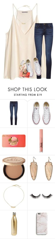 """""""get to know me tag in the d!!"""" by lindsaygreys ❤ liked on Polyvore featuring H&M, DL1961 Premium Denim, Converse, Too Faced Cosmetics, Kendra Scott, Cole Haan, S'well, Harper & Blake and country"""