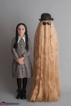 Wednesday Addams and Cousin It - Homemade costumes for families #halloween