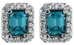 14k White Gold 1.38ctw Blue and White #Diamond Halo Stud #Earrings