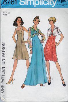 Simplicity 6761 Ladies Dress Jacket Vintage Pattern #1970s #dress #jacket #ladies #simplicity #teen #vintage #patterns #sewing #retro #vintagestitching