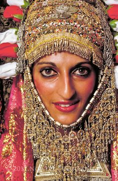 Yemenite Bride dressed for Henna Ceremony in traditional clothes.