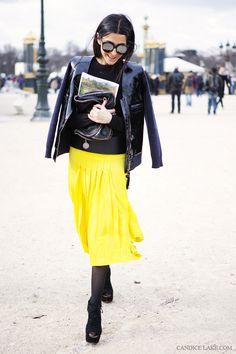 Street style Ezgi Kramer photographed by Candice Lake. Wearing: Chloe skirt, ALaia shoes, Marni for H jacket, Stella McCartney bag