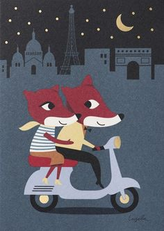 """New cards forLagom Design. With gold foil and everything. """"Parisian Foxes"""" by Illustrator Ingela Arrhenius.:"""