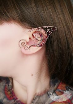 Twilight Elf  - elf ears, no piercing ear cuff, elven ear cuffs, copper jewelry, wire wrappped ear cuffs